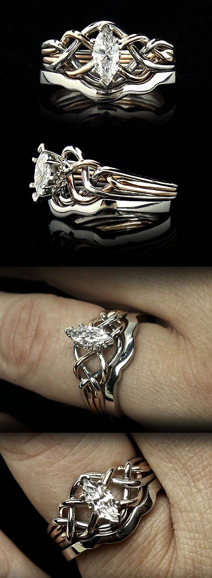 Celtic Marquise Diamond Puzzle Ring in 14K Rose Gold and Palladium with Palladium Shadow Band