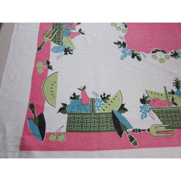 Hot Pink Linen Gardening Novelty Vintage Printed Tablecloth