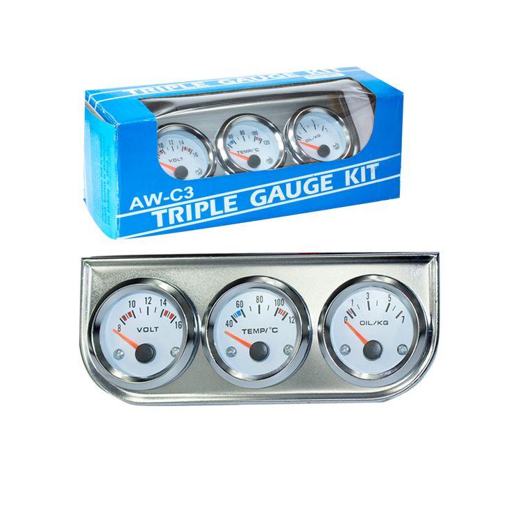 """Новый Chrome 2 """"52 ММ Triple калибровочные kit (температура воды датчик + Вольтметр + датчик давления Масла) с Датчик Автомобиля/Автоматический измерительный прибор YC100895"""