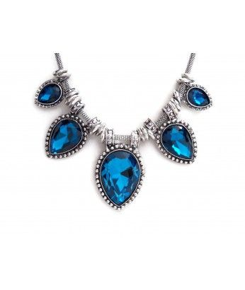 Silver Necklace With Large Blue Color Crystals - JENNIFER http://beewhimsy.com/index.php?route=product/product&product_id=200