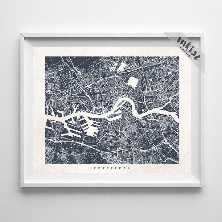 Netherlands Driving Map%0A Rotterdam  The Netherlands Street Map Print