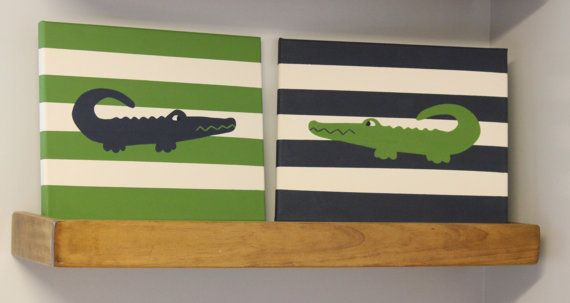 **Ready to ship!!** (with colors seen in photos. Different colors will require extra time)    These alligator paintings would look adorable in