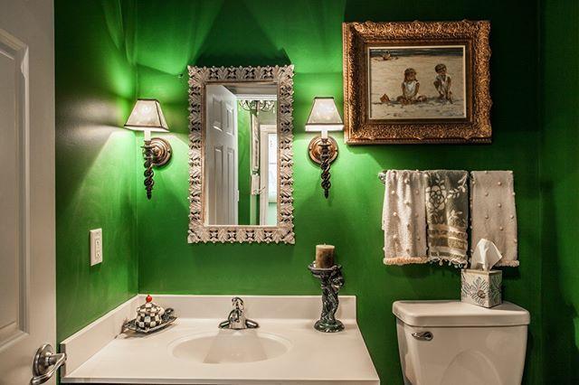 Dazzle guests with this tastefully done green powder bath!  2287 Glebe Street Carmel IN 46032  Village of WestClay $599900 http://glebe.callmatt.in  Courtesy of FC Tucker Co.  #talktotucker #fctucker #callmatt #realtor #luxuryrealestate #realestate #indyrealestate #villageofwestclay