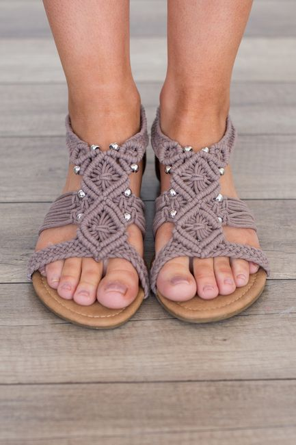 Shop our Crochet Beaded Sandal in Taupe. Featuring silver bead accents and a zipper back closure . Free shipping on all US orders!