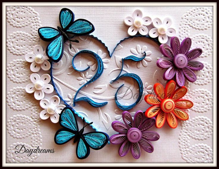 Quilled 25th wedding anniversary card