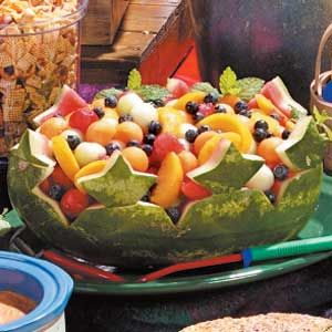 "Watermelon Boat  ""Wow!"" is what folks will say when they dig into this lovely fruit salad piled high in an eye-catching watermelon boat, relates Ruth Seitz of Columbus Junction, Iowa"