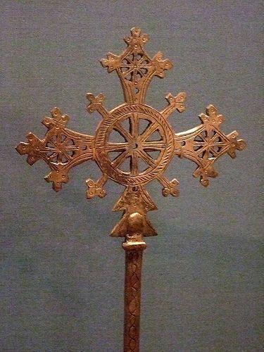 Handheld crosses Ethiopia 18th-20th century Brass silver wood (3)