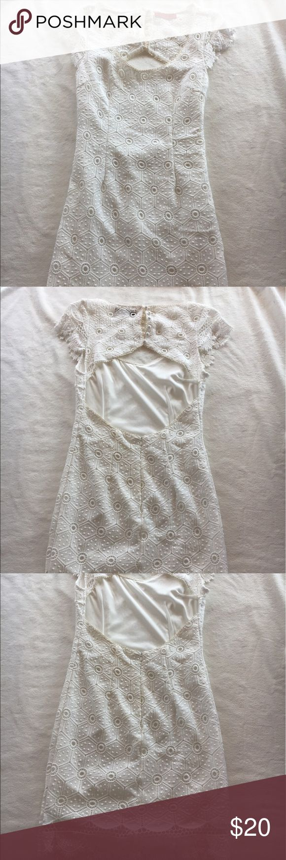 Lace crochet Cream Mini Dress with Cutout Back Lace Crochet Cream Mini Dress with Cutout Back and Scalloped Skirt Hem, tight fitting Size Medium, Perfect for Spring Weddings/Formals/Bachelorette Parties, originally from Lulu's Lulu's Dresses Mini