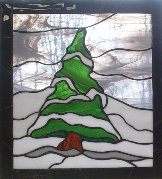 Snowy Pine rustic stained glass window panel by NatureWalkGlass, $75.00