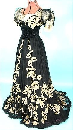 Edwardian Dress - c. 1905/1906 House of BEER, 7 Place Vendome, Paris Black Silk Chiffon Trained Gown with Gold Sequins!