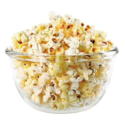 "No need to avoid a snack when settling in for a movie. Just make sure it's popcorn. ""While a snack-size serving of pretzels and 94% fat-free microwave popcorn have about the same calories and carbs, a serving of popcorn is six whole cups and it packs 5 grams of fiber,"" says Zuckerbrot."