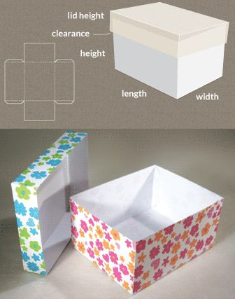 Completely custom sized template for a Box with lid