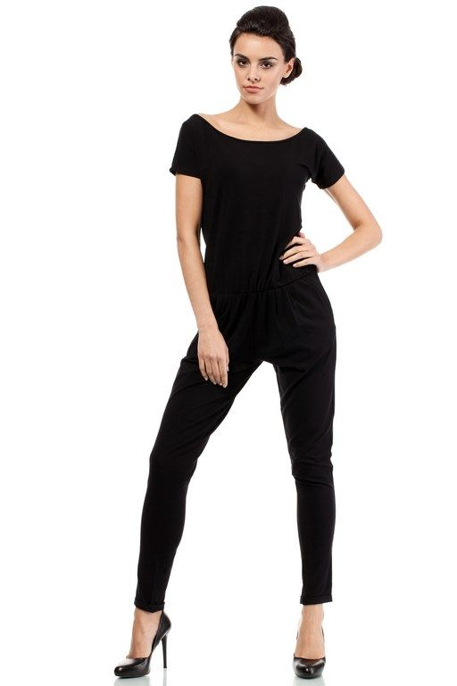 Black women's jumpsuit with short sleeves