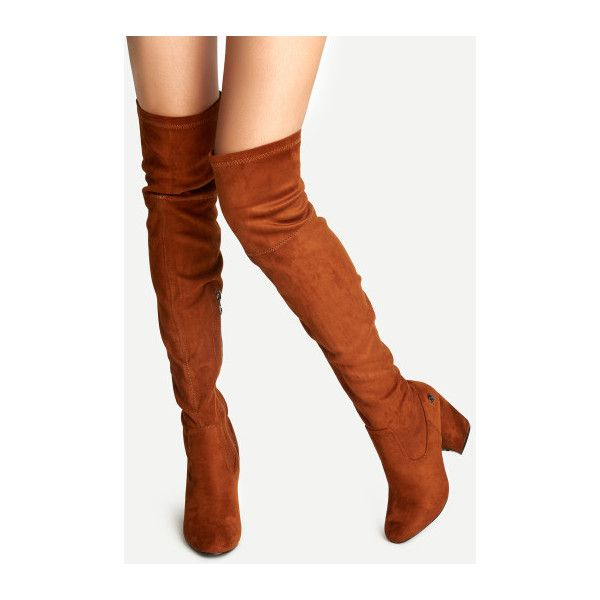 SheIn(sheinside) Brown Faux Suede Point Toe Over The Knee Boots (7075 DZD) ❤ liked on Polyvore featuring shoes, boots, brown, thigh high boots, brown boots, above knee boots, thigh boots and faux suede over the knee boots