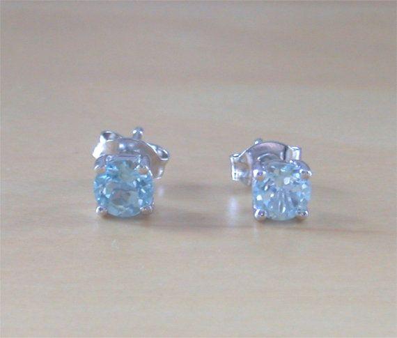 925 Blue Topaz Stud Earrings/Sterling by joannasjewellerycouk