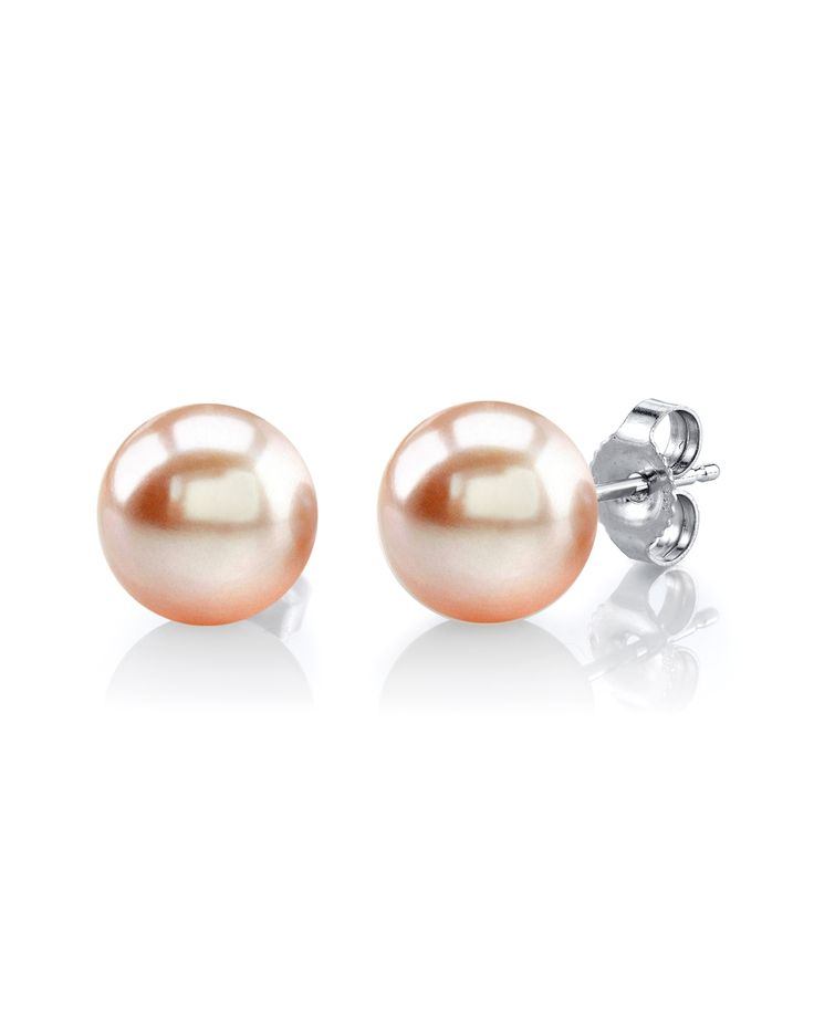 Peach Freshwater Pearl Stud Earrings for $69!