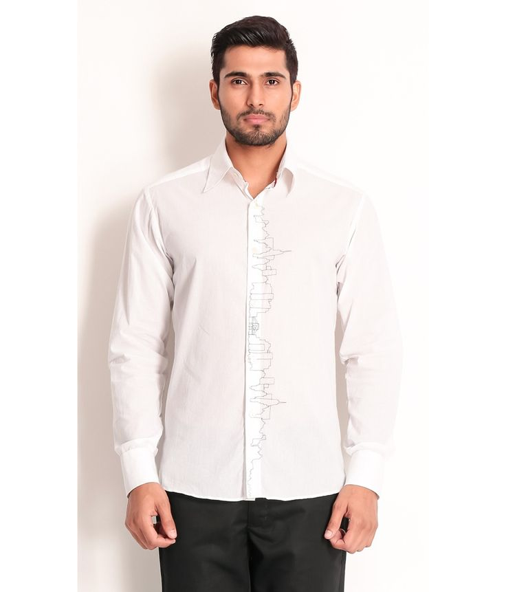 Samant Chauhan White Cotton Shirt with Embroidery On Center Front, http://www.snapdeal.com/product/designer-wear-white-cotton-shirt/1707410600