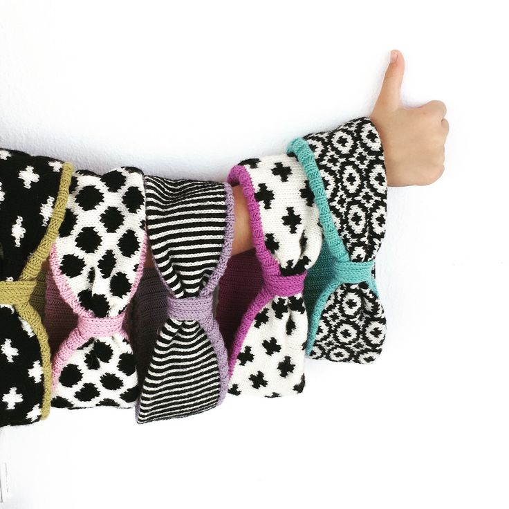 Knitted Headbands by TheKnitPanda. Black and White pattern, inside bold colors