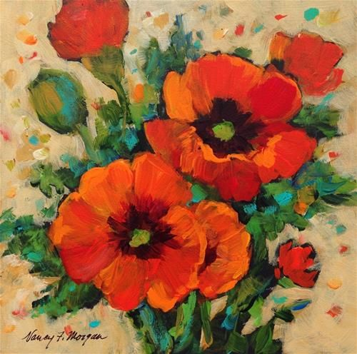 """Daily Paintworks - """"Tuesday Poppies"""" - Original Fine Art for Sale - © Nancy F. Morgan"""