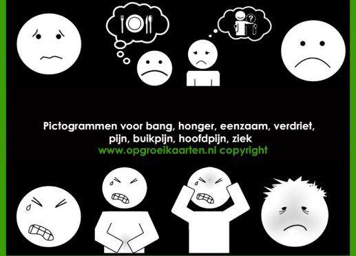 Pictogrammen ziek/bang/honger etc