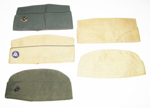 5 Vintage Military Uniform Hats WWII EGA USMC by Americanpickers2, $20.00
