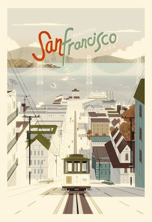 SFO poster: Cities, Vintage Poster, Sanfrancisco, The Bays, Travel Tips, Kevin Darts, Places, San Francisco, Vintage Travel Poster
