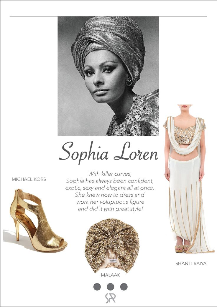 #CelebCrush Sophia Loren The Turban Look is admittedly not the easiest look to pull off, but style icons Sophia Loren might be able to help inspire you. White Goddess mirrorwork saree by SHANTI RAIYA with a gold shimmer Turban by MALAAK. For more information on our services and collection, log onto:  www.shanti-raiya.com