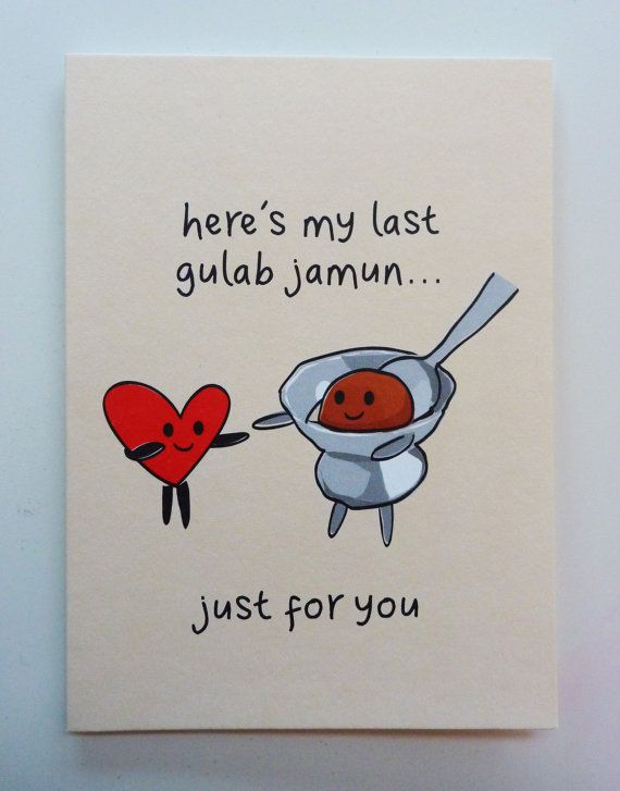 Funny Indian Food-inspired Greetings Card - Gulab Jamun