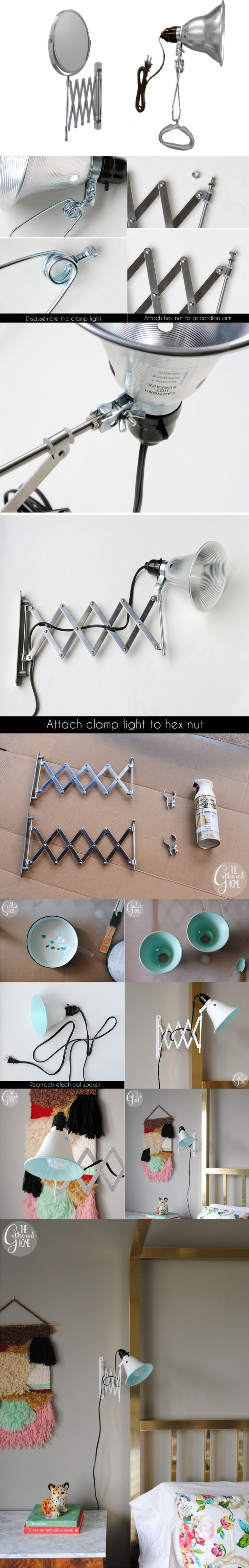 Ingenioso hack de ikea para crear una lámpara / Via http://www.thegatheredhome.com/