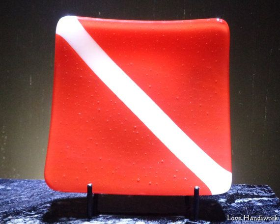 Scuba Dive Flag Slumped Fused Glass Square Plate