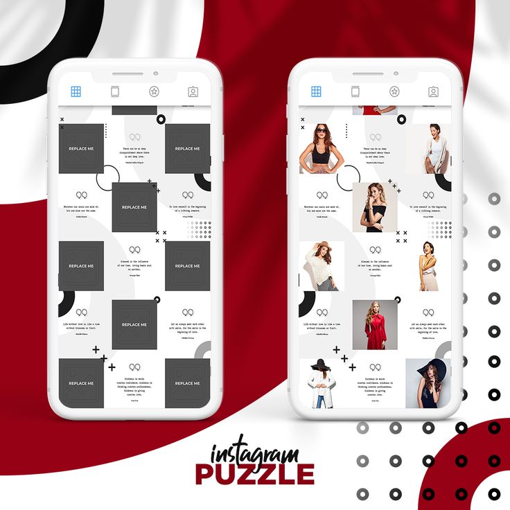 Instagram Puzzle Template, Canva Instagram Presets for