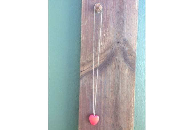 Red wooden heart on sterling silver necklace by Anien Botha Designs