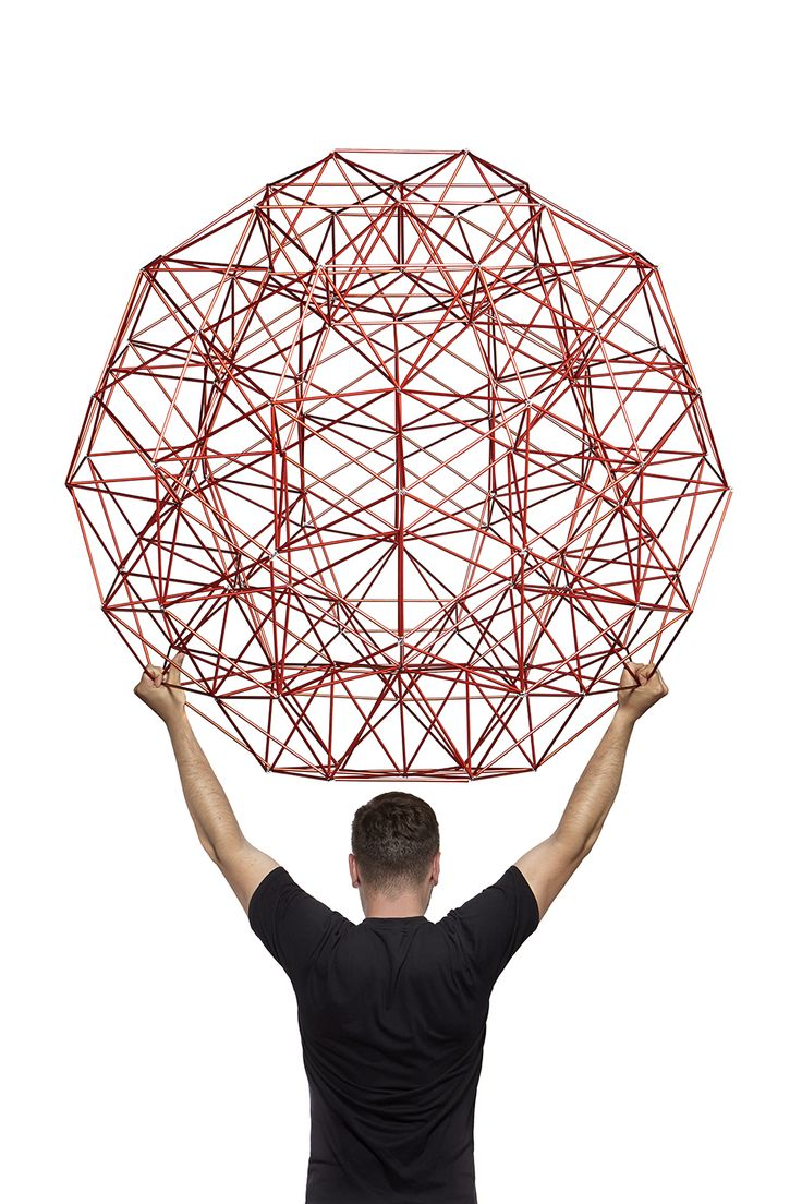 """Our """"Structure"""" can have many applications, e.g. can be used as a toy, during geometry lesson, or for creating spatial decorations in various interiors. Wire hooks, connected by means of rubber bands, are """"flexible nodes"""" of sort, which allow for effortless shaping and transforming geometric figures and configurations."""