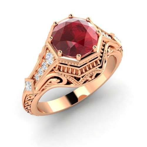 Certified 1.41ct Ruby Diamond Ring 18k Rose Gold Cocktail Engagement Ring