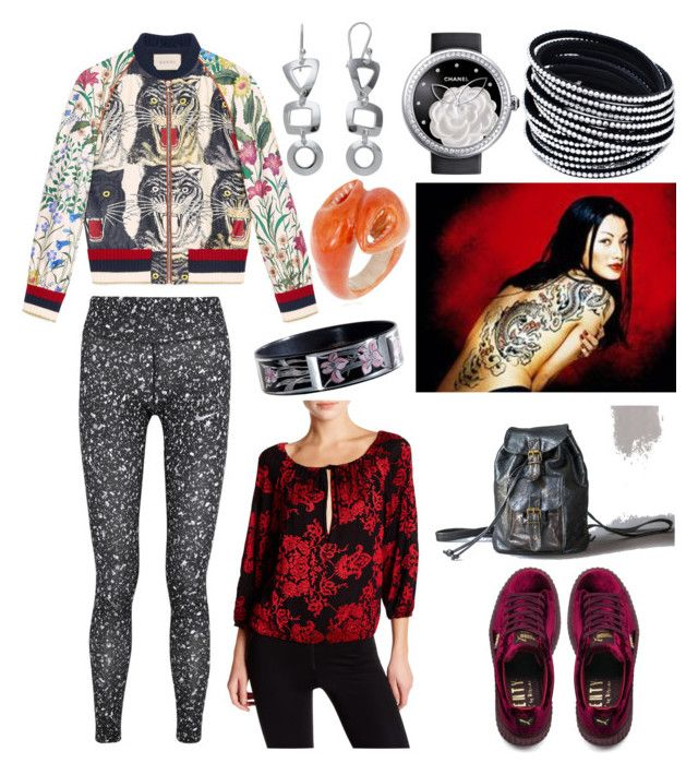 """""""90s Asian Outfit"""" by hellenrose7292 on Polyvore featuring Gucci, Puma, NIKE, Alice + Olivia, Chanel and Nach"""