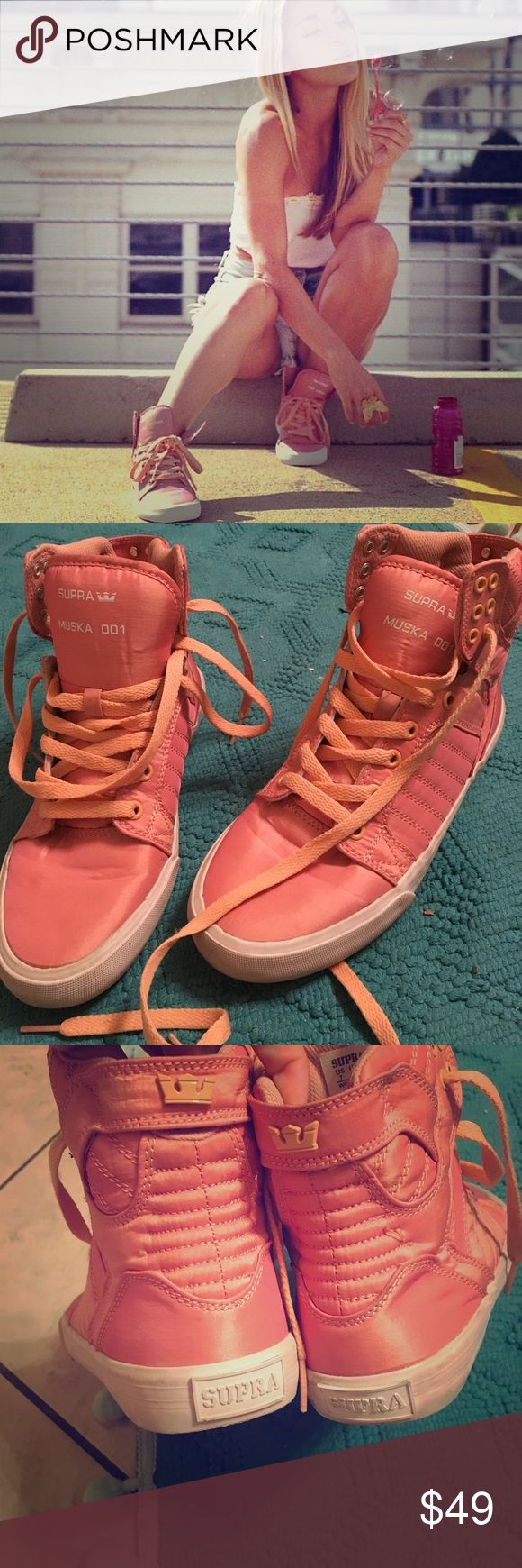 Dusty pink Supra Muska 001 EUC Sz 7 Barely worn, very minimal wear. Super cute sneakers, in an awesome unique salmon-y pink. Size 7, smoke free home. Supra Shoes Sneakers