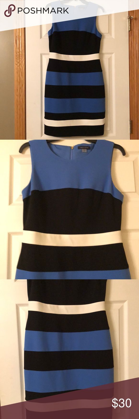 Tommy Hilfiger sleeveless Black/Blue Dress - 8 Tommy Hilfiger striped, fitted dress. Dress is a beautiful blue, black with two white accent stripes. Worn only once. Looks wonderful with black heels or could layer for winter with black boots and a black sweater. Tommy Hilfiger Dresses Mini