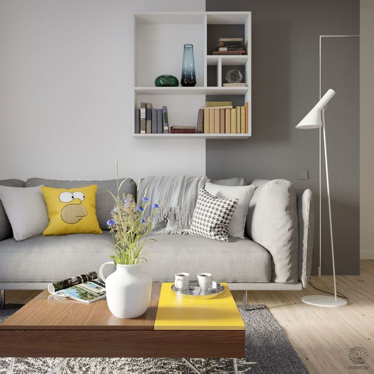 Grey And Blue Decor With Yello Pop Of Color: Grey And Yellow Open Plan Small Apartment Tour