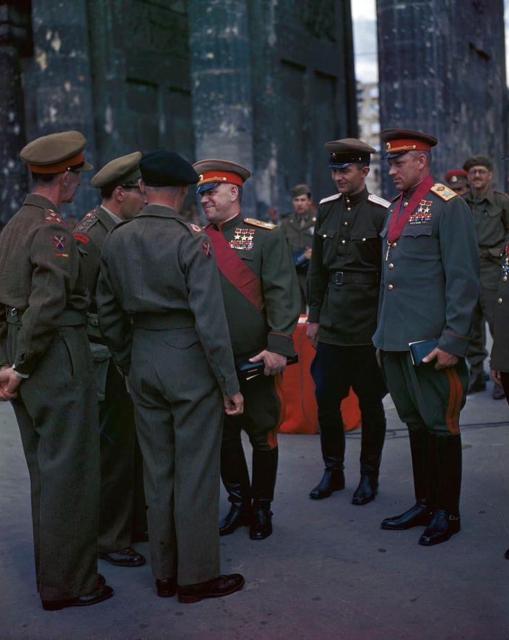 Georgi Zhukov and Konstantin Rokossovsky greeting Bernard Montgomery at the Brandenburg Gate Berlin Germany 12 Jul 1945 [10001257] Colourised