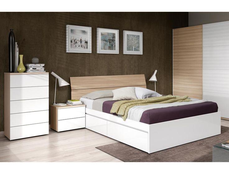 Image result for muebles dormitorio blanco y roble