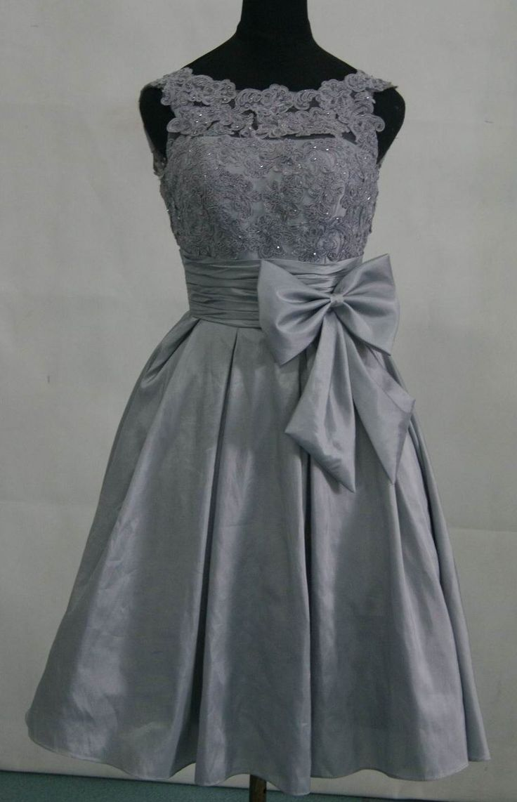 Taffeta silver grey bridesmaid dress prom dress with by for Gray dresses for a wedding