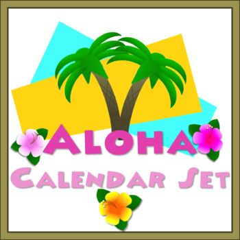 This colorful Hawaiian themed calendar set includes 31 numbered calendar squares, 5 blank calendar squares, 12 month labels, and seven days of the week labels. Can be used together or separately to create a fun, festive bulletin board calendar.