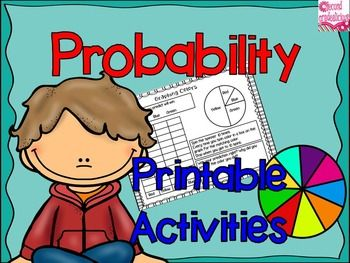 Probability - Printables For First and second grade. This packet has 7 fun and engaging printer friendly activities to teach your students about probability.  $