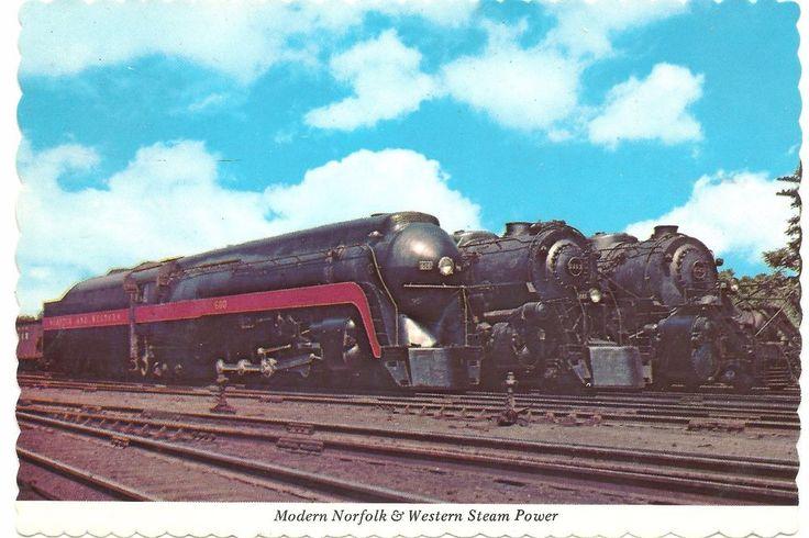 Railroad Postcard Norfold & Western Steam Power