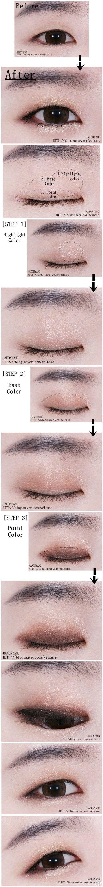 适合单眼皮和内双的MM们。【新手眼妆指南】适合单眼皮和内双的MM们。颜色选择淡粉色、裸色和橘色系都可以。