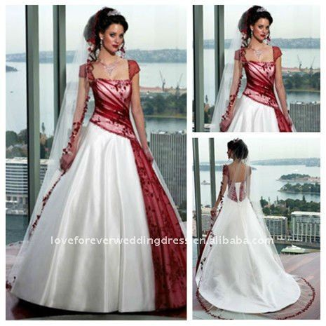 Elegant Hot Sale Ball Gown wedding gown Red and White Wedding Dresses