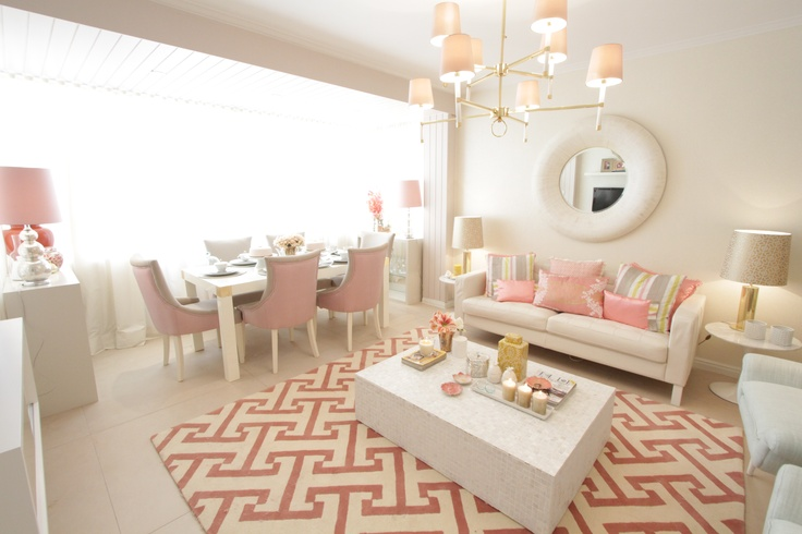 Project by Ana Antunes for the tv home makeover show - Coral geometric fabrics and rug, Mother pearl materials, Big round white mirror, Ikea vittjo shelves painted gold, caitlin wilson fabrics, designer's guild fabrics
