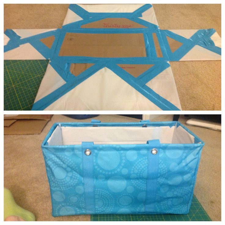 Thirty One Large Utility Tote Liner. Some use a shower curtain and some used a vinyl tablecloth. The tablecloth is opaque, though, so you can't see the cardboard underneath.