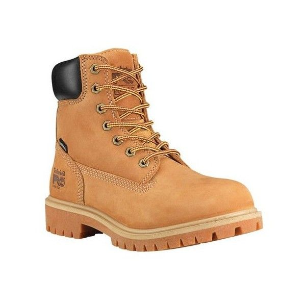 "Women's Timberland PRO Direct Attach 6"" Steel Toe Boot ($135) ❤ liked on Polyvore featuring shoes, boots, casual, tan, work boots, laced up boots, waterproof slip resistant boots, steel toe work boots, waterproof steel toe boots and slip resistant work boots"