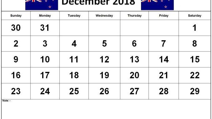 December Calendar 2018 NZ (4) December 2018 Calendar Template